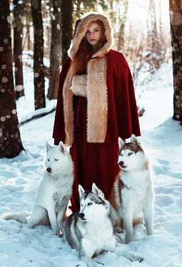 Alexandra Bochkareva WOMAN IN RED CLOAK WITH WOLVES Women