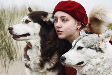 Alexandra Bochkareva MODERN WOMAN WITH TWO DOGS Women