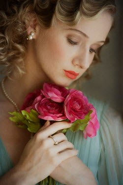 Lee Avison beautiful 1930s high society woman with pink flowers Women