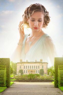 Lee Avison 1930s woman with entrance to mansion and grounds Women