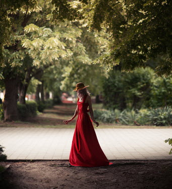 Kirill Sakryukin YOUNG WOMAN IN LONG RED DRESS Women