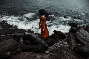 Kirill Sakryukin YOUNG WOMAN ON ROCKS BY SEA Women