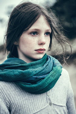 Magdalena Russocka serious young girl with blue scarf Women