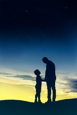 Mary Wethey SILHOUETTE OF FATHER AND SON AT SUNSET Children