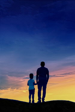 Mary Wethey FATHER AND SON HOLDING HANDS AT SUNSET Children