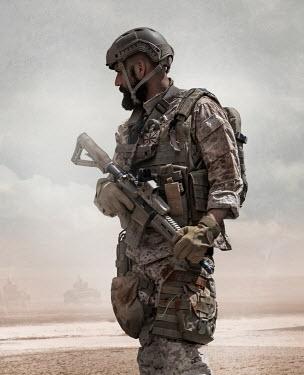 CollaborationJS SOLDIER WITH GUN IN DESERT Men