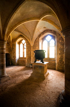 Michael Trevillion MEDIEVAL INTERIOR WITH IRON POT Interiors/Rooms