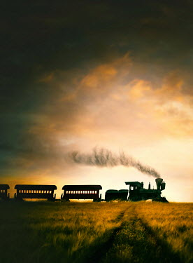 Sandra Cunningham AMERICAN LOCOMOTIVE TRAVELLING AT DUSK Railways/Trains