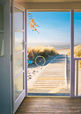 Sandra Cunningham BEACH HOUSE WITH BICYCLE IN SUMMER Houses