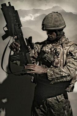 Nik Keevil MODERN SOLDIER WITH RIFLE IN UNIFORM Men