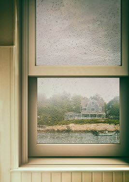 Sandra Cunningham WET WINDOW WITH HOUSE AND BOAT Houses