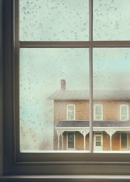 Sandra Cunningham RAINY WINDOW WITH HOUSE Houses