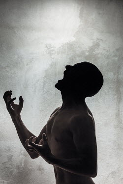Paolo Martinez NAKED SILHOUETTED MAN SCREAMING Men