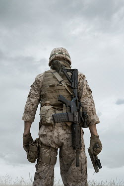 Stephen Mulcahey SOLDIER STANDING IN FATIGUES FROM BEHIND Men