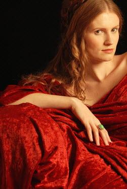 Michael Trevillion HISTORICAL WOMAN DRAPED WITH RED VELVET Women