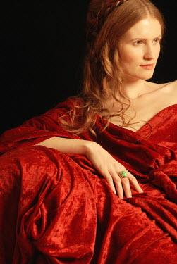 Michael Trevillion WOMAN WITH RED HAIR DRAPED IN VELVET Women