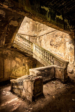 James Kerwin GRAND STAIRCASE IN DERELICT BUILDING Stairs/Steps