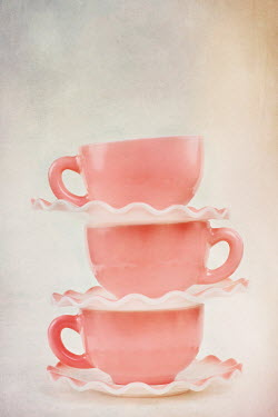 Stephanie Frey THREE PINK BALANCING CUPS AND SAUCERS Miscellaneous Objects