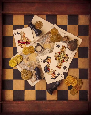 Jane Morley CHESS BOARD WITH CARDS AND GOLD COINS Miscellaneous Objects
