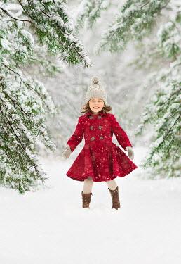 Lilia Alvarado LLITTLE GIRL IN RED COAT IN SNOW Children