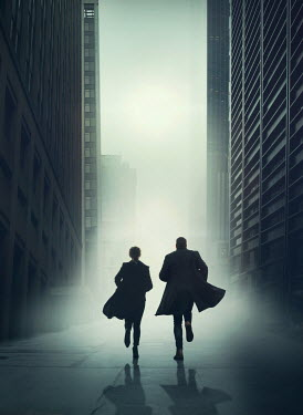 Mark Owen COUPLE RUNNING IN FOGGY CITY Couples