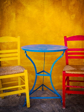 Trevor Payne BLUE TABLE WITH YELLOW AND RED CHAIRS Miscellaneous Objects