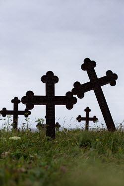 Holly Leedham GRAVEYARD WITH OLD CROSSES Statuary/Gravestones