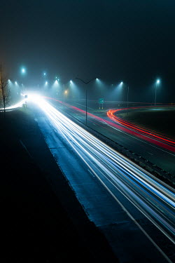 Evelina Kremsdorf ROAD AT NIGHT WITH LINES OF LIGHT Roads