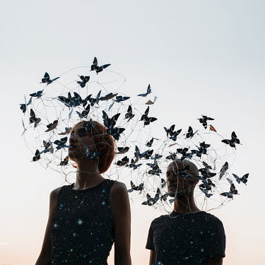 Jovana Rikalo WOMAN AND MAN WITH BUTTERFLY HATS Couples