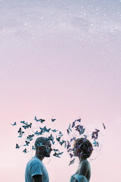 Jovana Rikalo WOMAN AND MAN IN BUTTERFLY HATS Couples