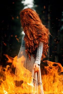 Rekha Garton WOMAN WITH RED HAIR IN FLAMES Women