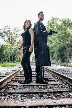 Stephen Carroll MAN AND GUN WITH GIRL ON RAILWAY Couples