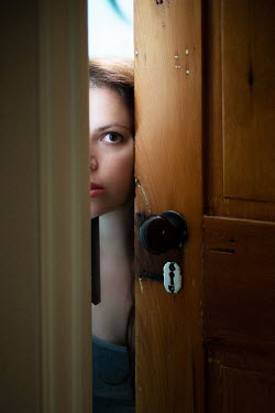 Jen Kiaba WOMAN PEERING FROM BEHIND DOOR Women