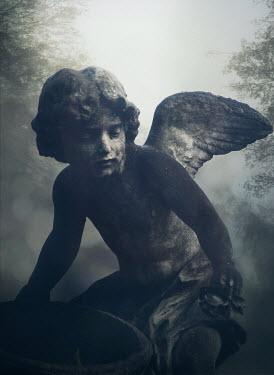Mark Owen STONE ANGEL IN FOGGY GRAVEYARD Statuary/Gravestones