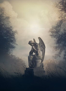 Mark Owen KNEELING ANGEL IN FOGGY CEMETERY Statuary/Gravestones