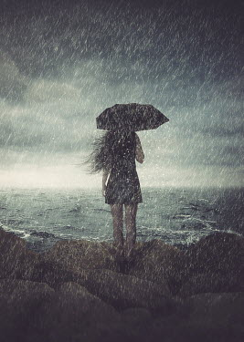 Michael Vincent Manalo WOMAN WITH UMBRELLA IN RAIN BY SEA Women