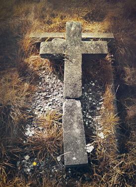 Mark Owen BROKEN STONE CRUCIFIX IN GRAVEYARD Statuary/Gravestones