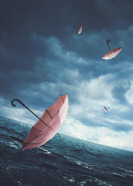 Michael Vincent Manalo PINK UMBRELLAS FLOATING OVER STORMY SEA Miscellaneous Objects