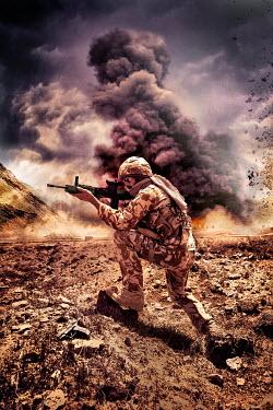 Nik Keevil MODERN SOLDIER IN DESERT WITH EXPLOSIONS Men