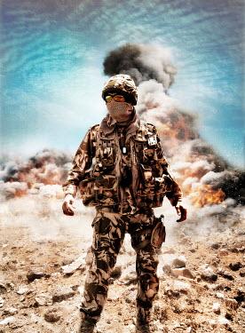 Nik Keevil MODERN SOLDIER IN DESERT WITH EXPLOSION Men