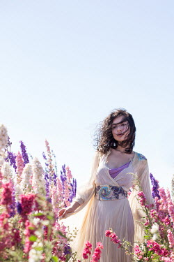 Holly Leedham ETHNIC WOMAN IN FIELD OF FLOWERS Women