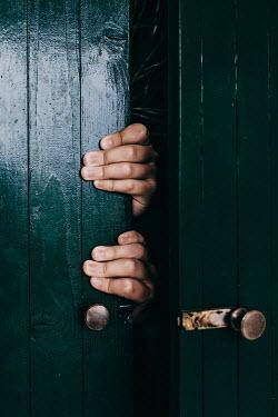 Des Panteva HANDS GRIPPING WOODEN DOOR Body Detail