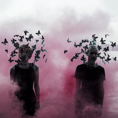 Jovana Rikalo MAN AND WOMAN WITH BUTTERFLY HATS Couples