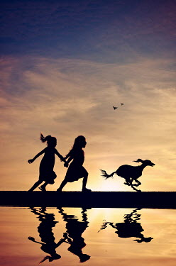 Elisabeth Ansley TWO GIRLS AND DOG RUNNING Children