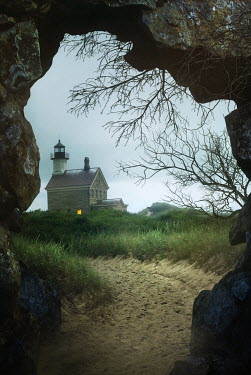 Sandra Cunningham VIEW FROM ROCK ARCHWAY TO LIGHTHOUSE Houses