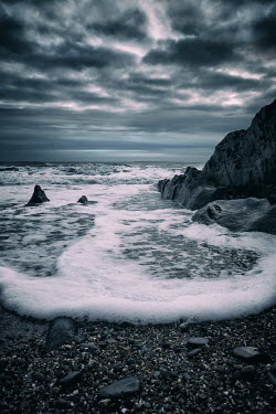 Tim Robinson FOAM FROM WAVES ON SHINGLE Seascapes/Beaches