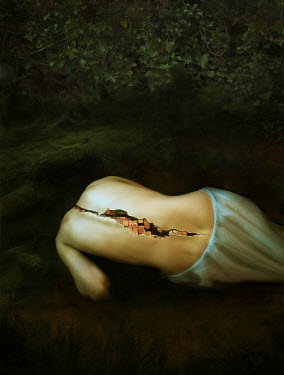 Marta Ostrowska SURREAL WOMAN'S BACK SPLIT OPEN Women