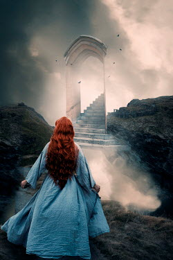 Rekha Garton RED HAIRED NEAR STAIRCASE TO CLOUDS Women