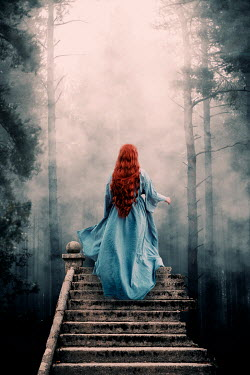 Rekha Garton RED HAIRED WOMAN CLIMBING FOREST STAIRCASE Women