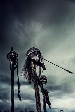 Nik Keevil HISTORICAL SKULLS ON POLES WITH ARROW Miscellaneous Objects